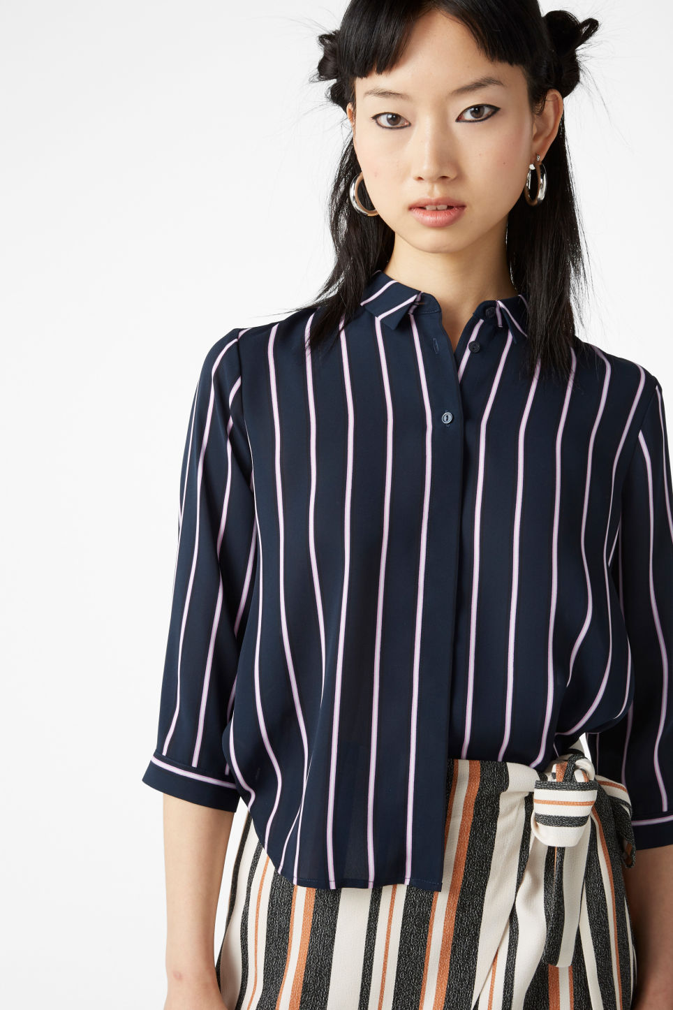 Model front image of Monki button up blouse in blue