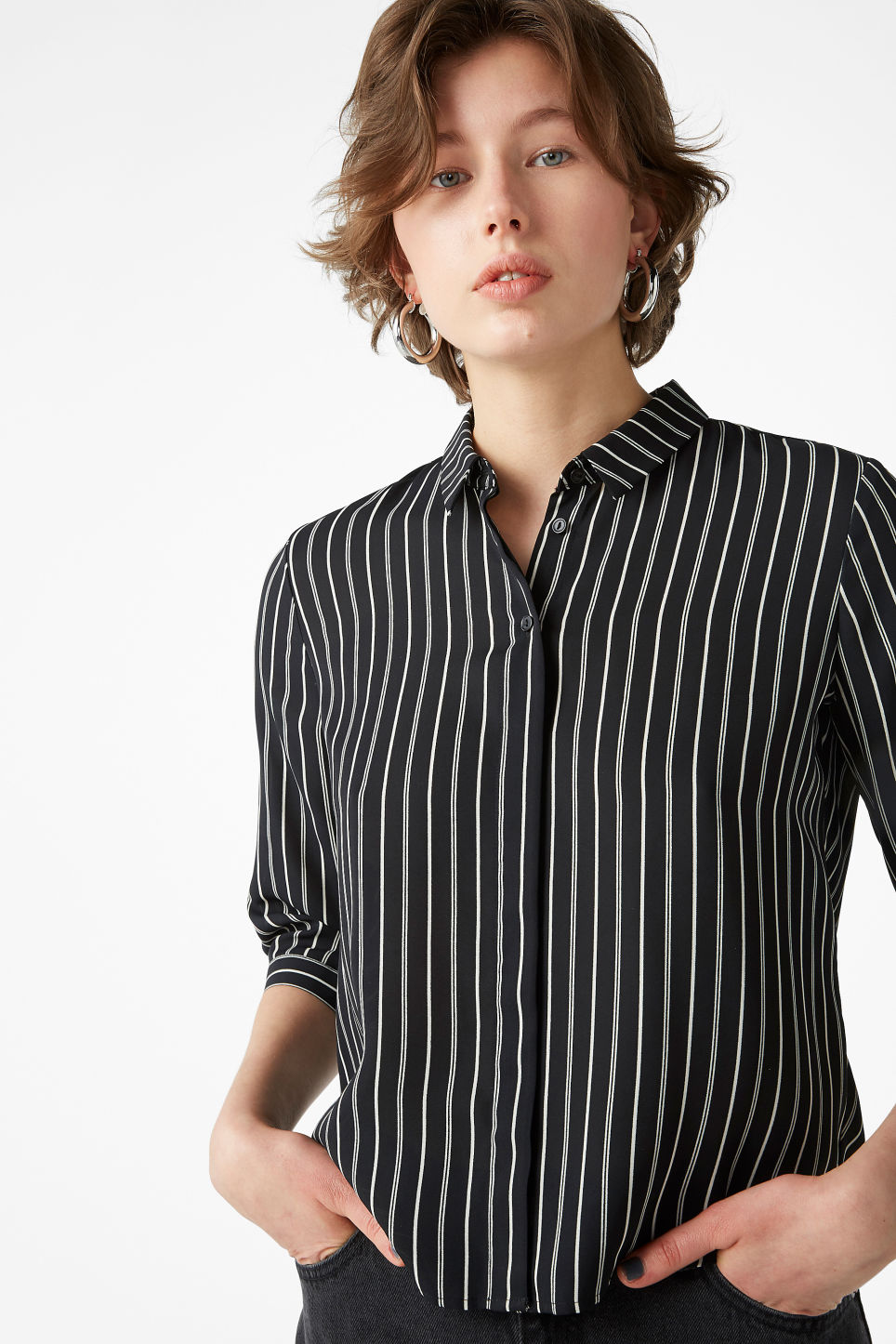 Model front image of Monki button up blouse in black