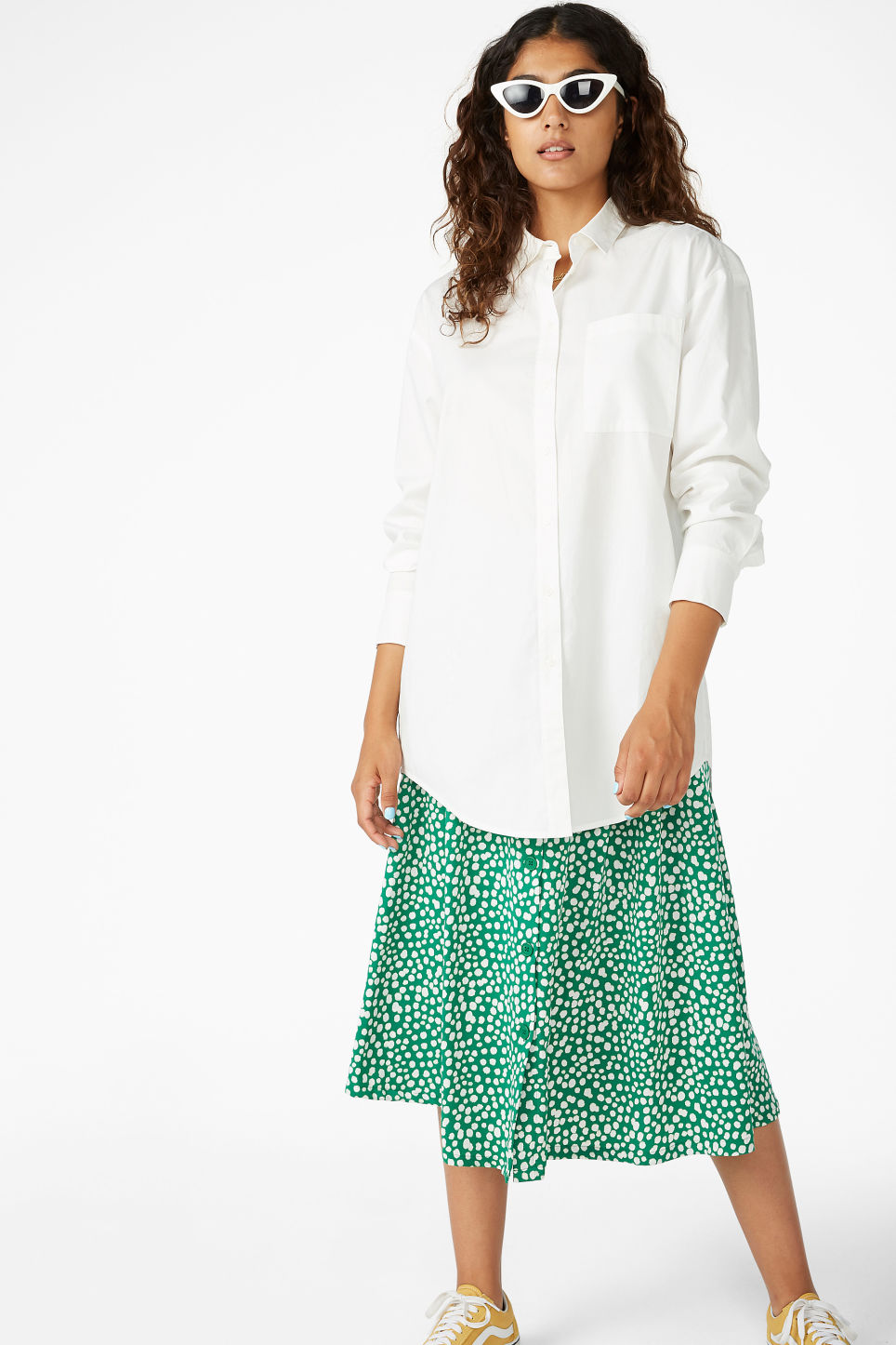 Model front image of Monki oversized classic shirt in white