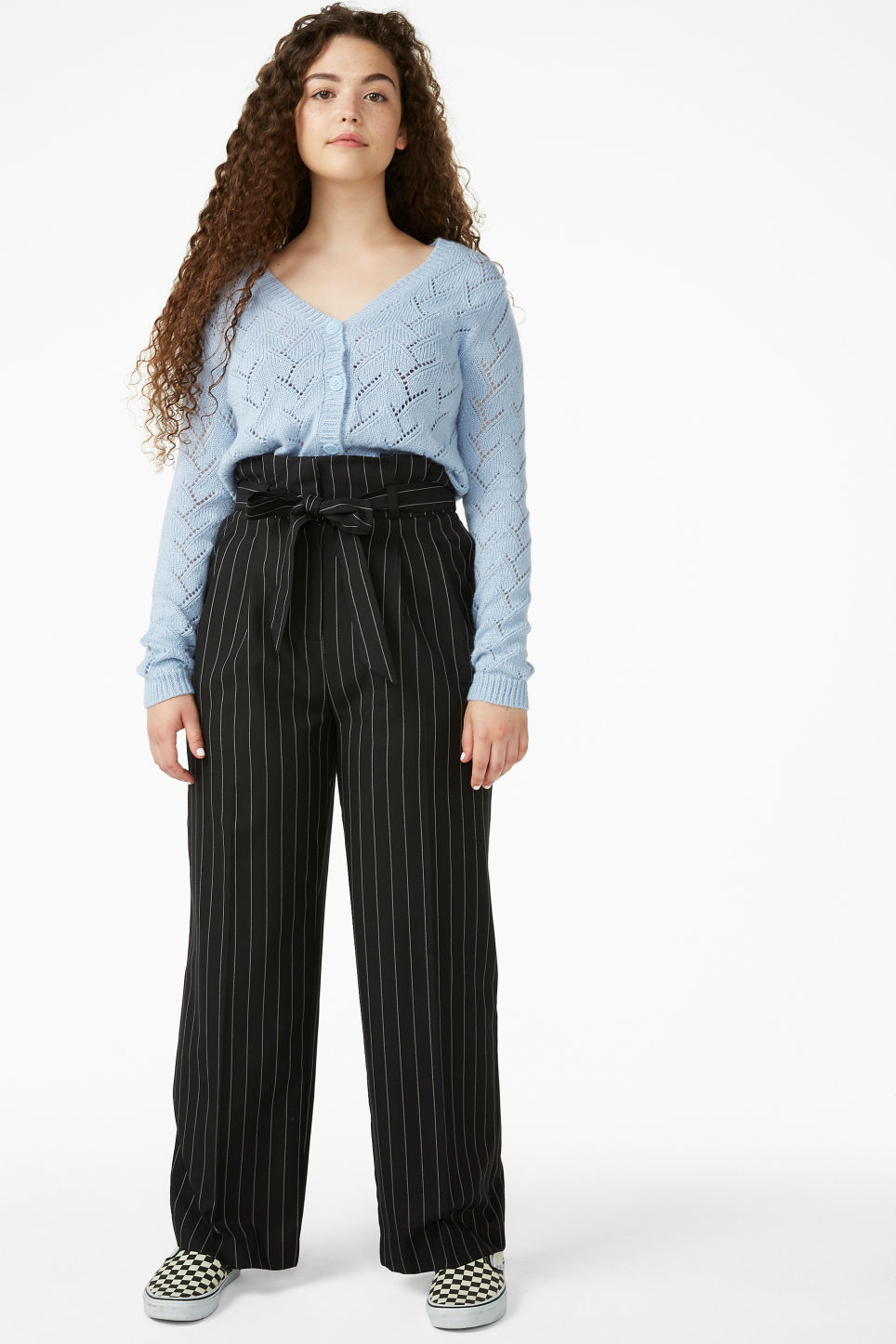 Model front image of Monki smart trousers with tie detail in black