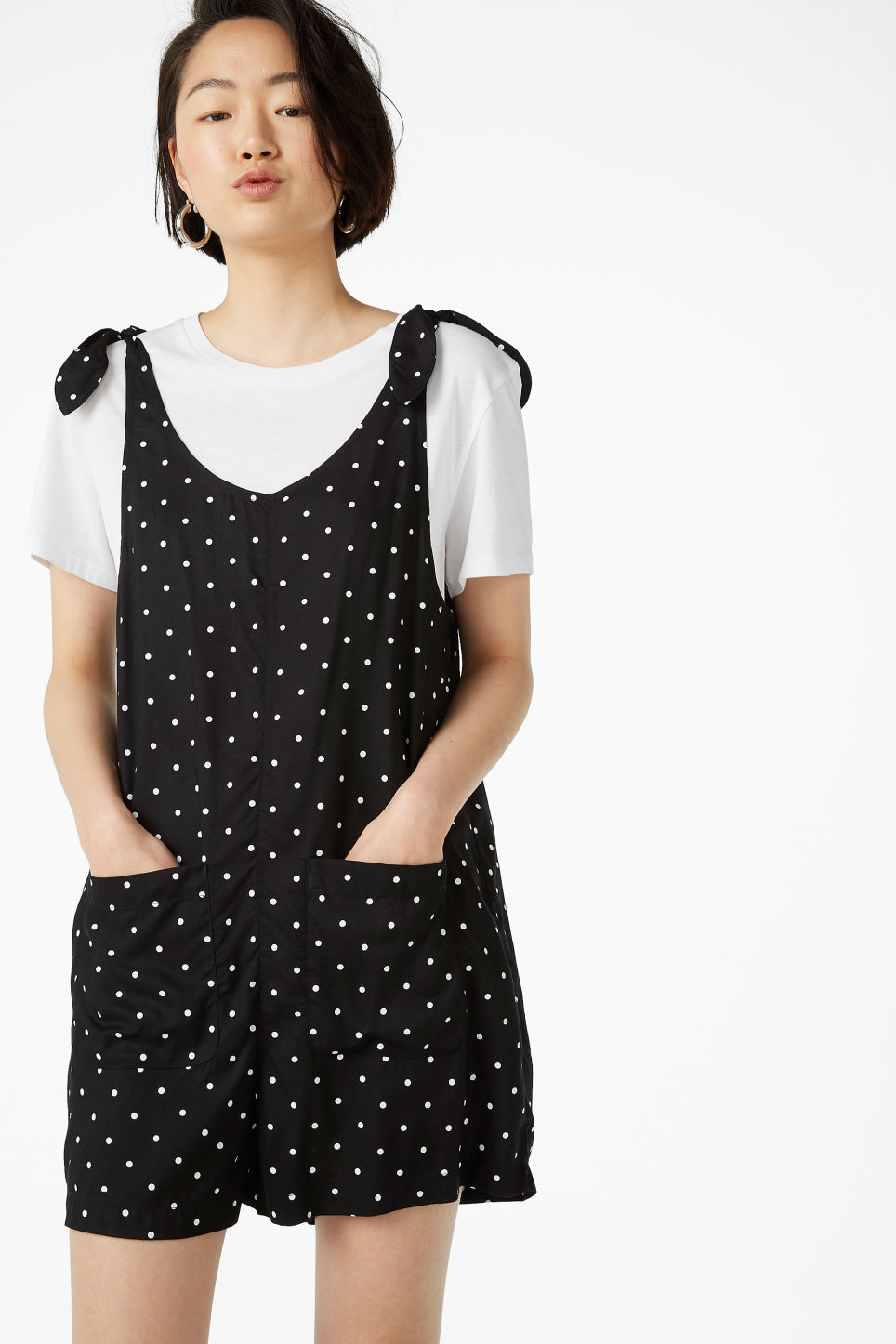 Model front image of Monki mini playsuit in black