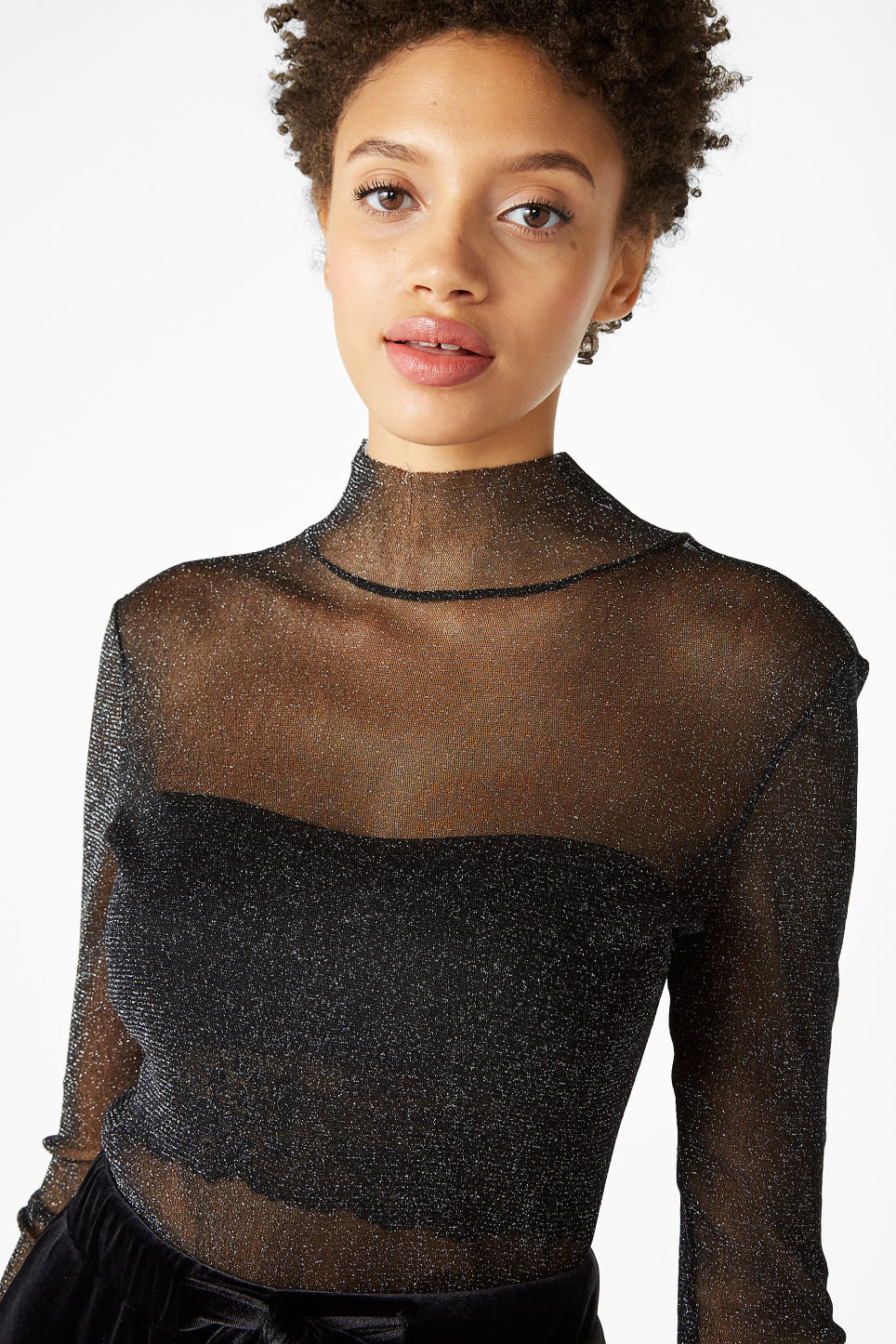Model front image of Monki sheer polo neck top in black