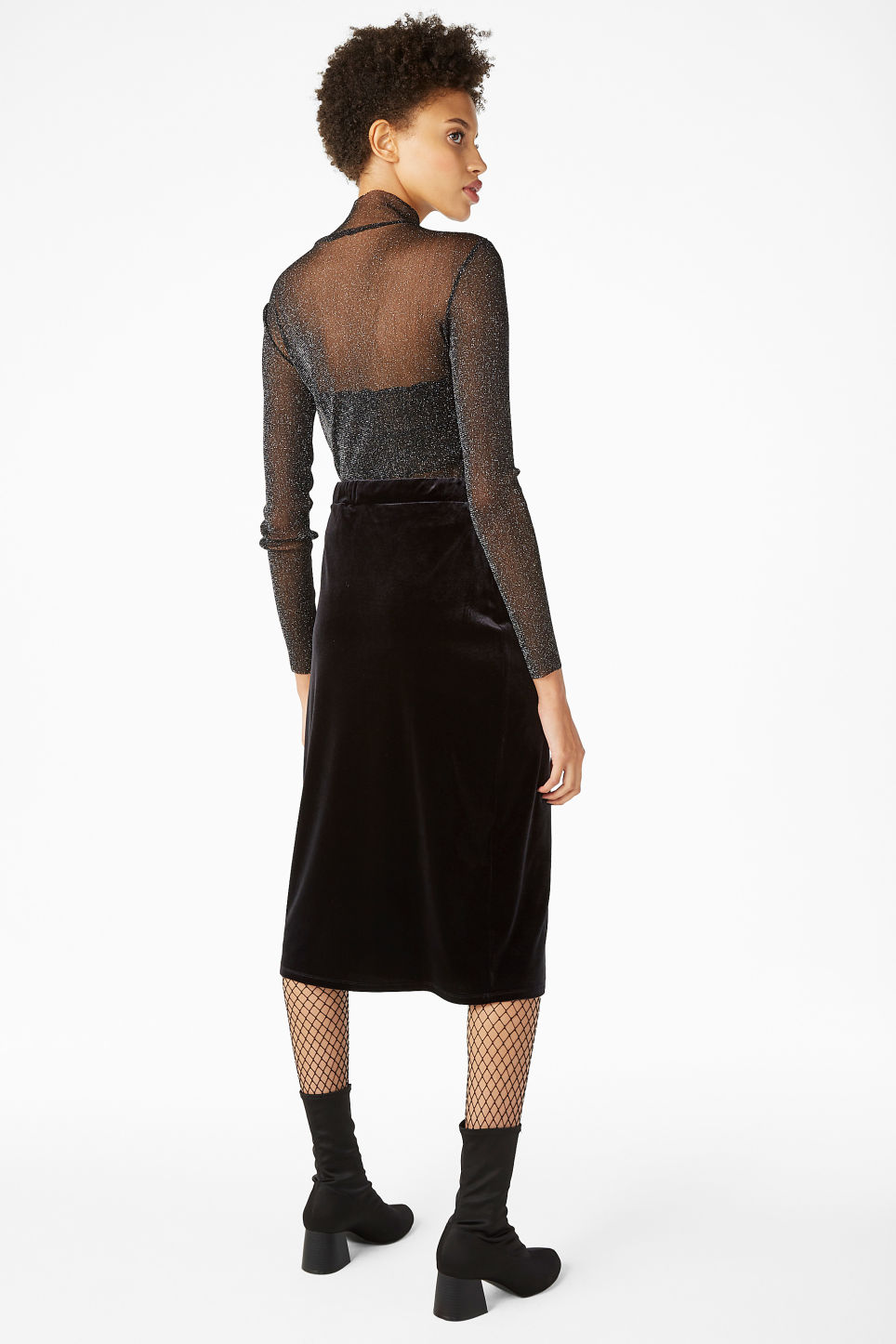 Model back image of Monki sheer polo neck top in black
