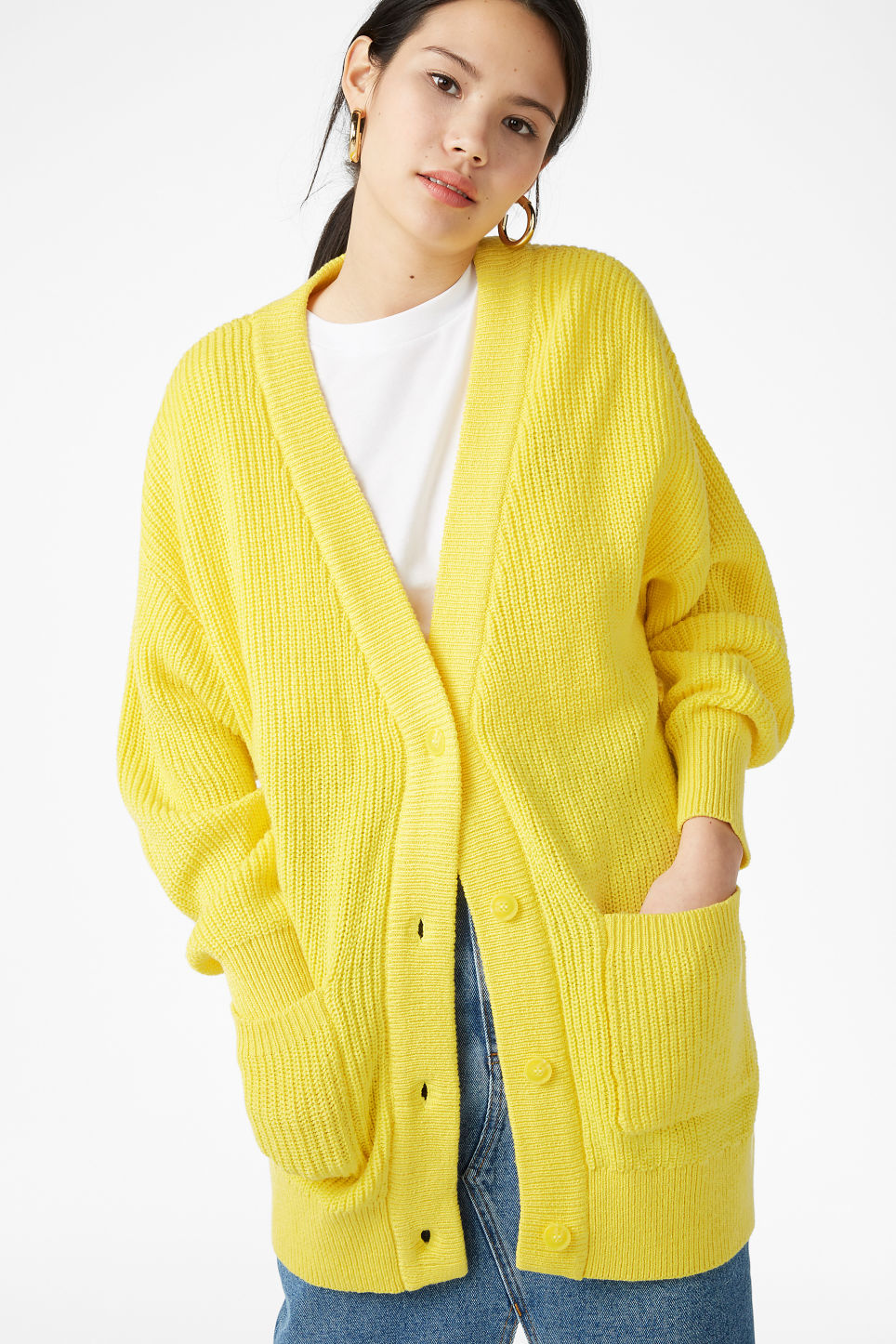 Model front image of Monki oversized cardigan in yellow