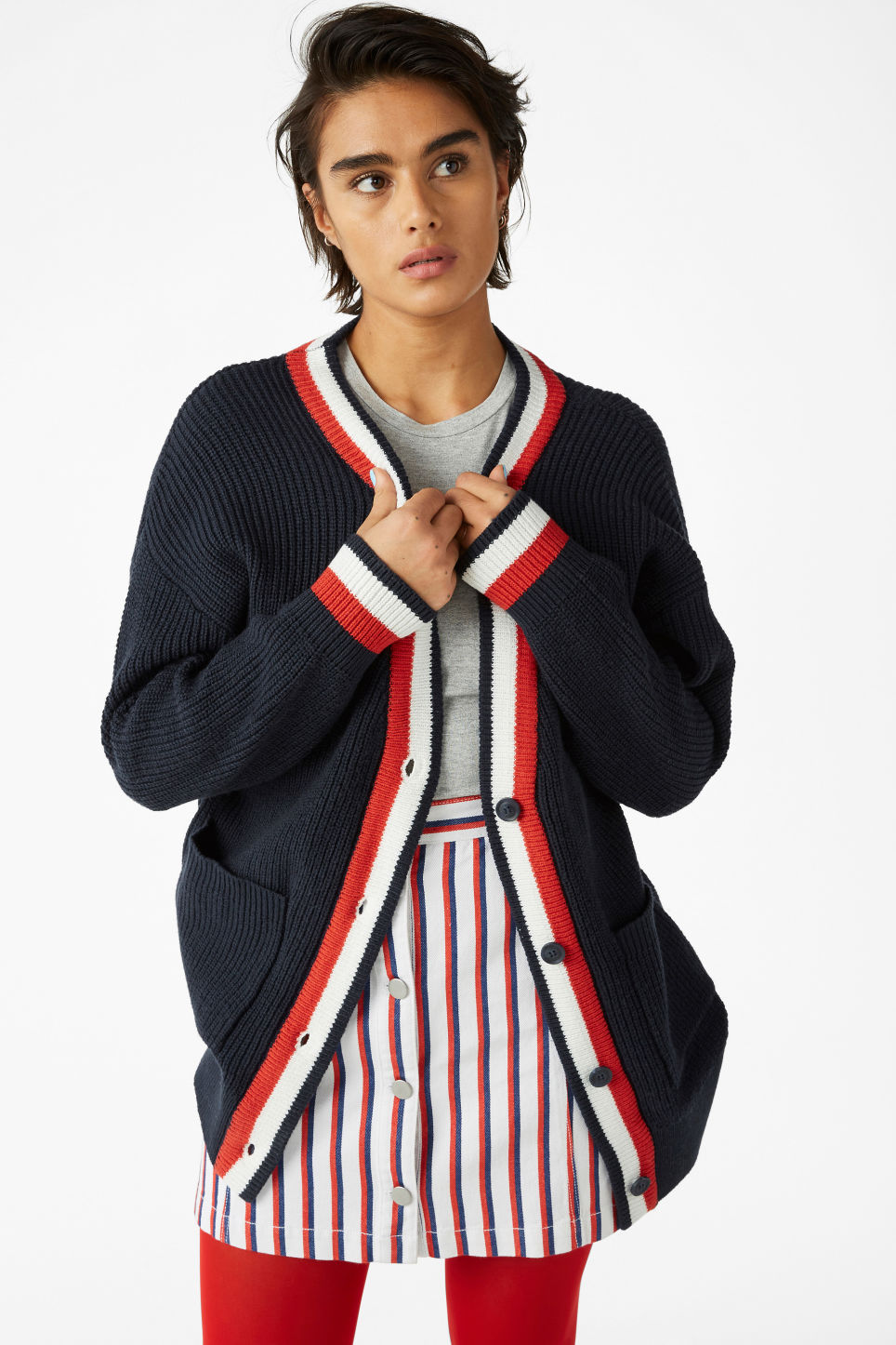 Model front image of Monki oversized cardigan in blue