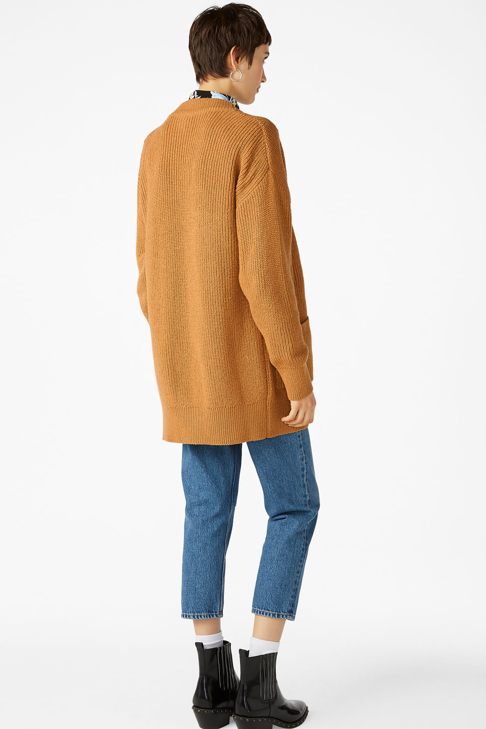 Model back image of Monki oversized cardigan in yellow