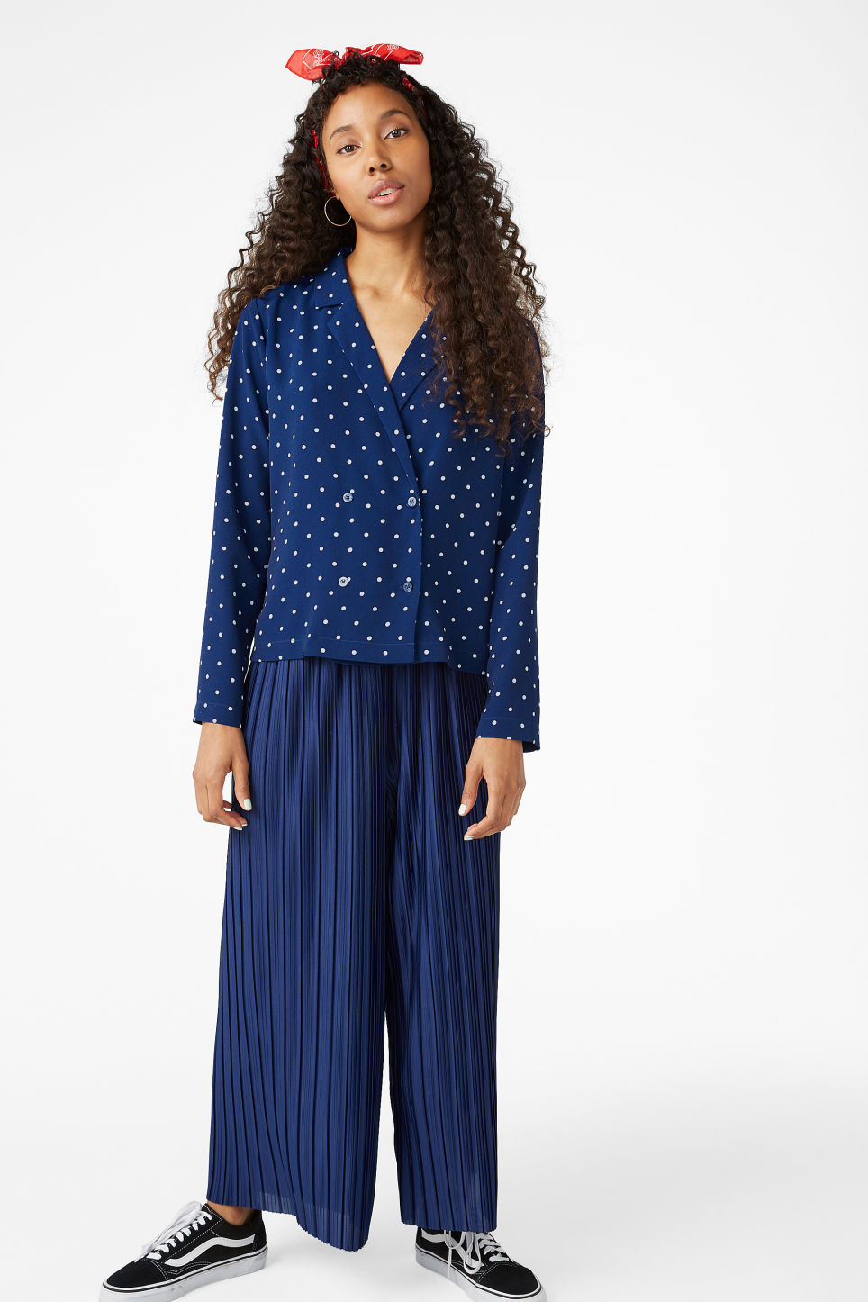 Model front image of Monki double-breasted blouse in blue