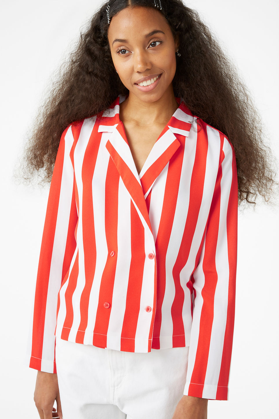 Model front image of Monki double-breasted blouse in red