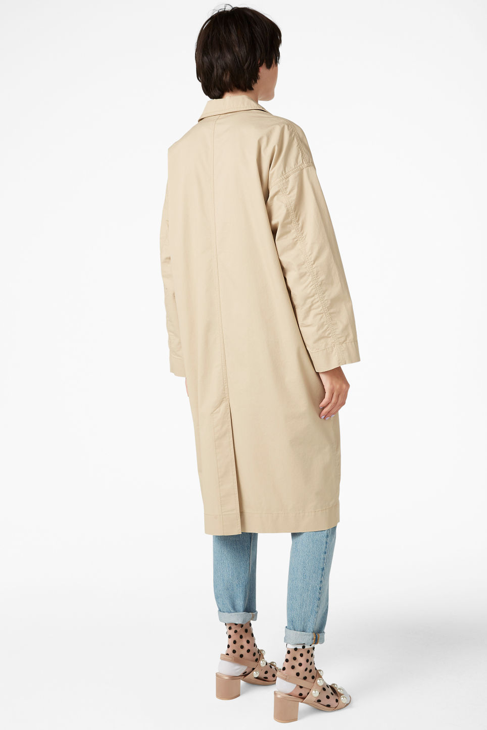Model back image of Monki long coat in beige