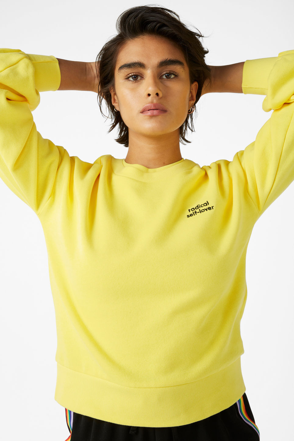 Model front image of Monki sweater with puff sleeves in yellow