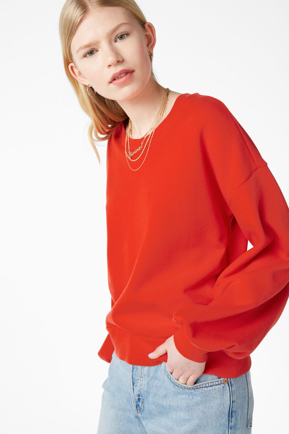 Model front image of Monki sweater with puff sleeves in red