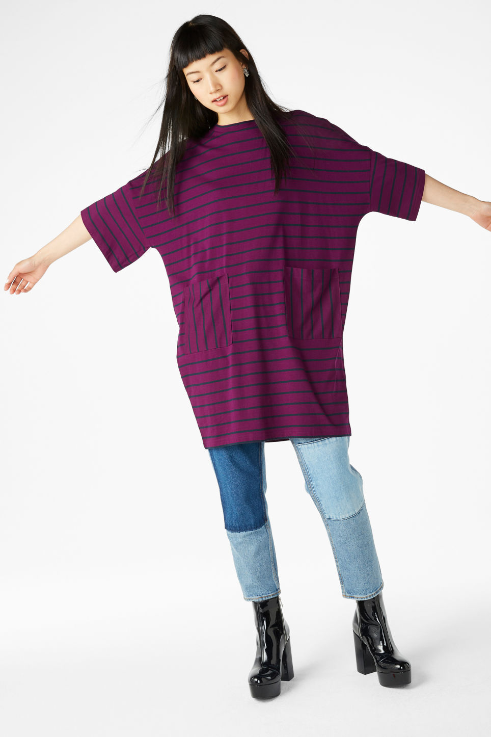 Model front image of Monki wide t-shirt dress in purple