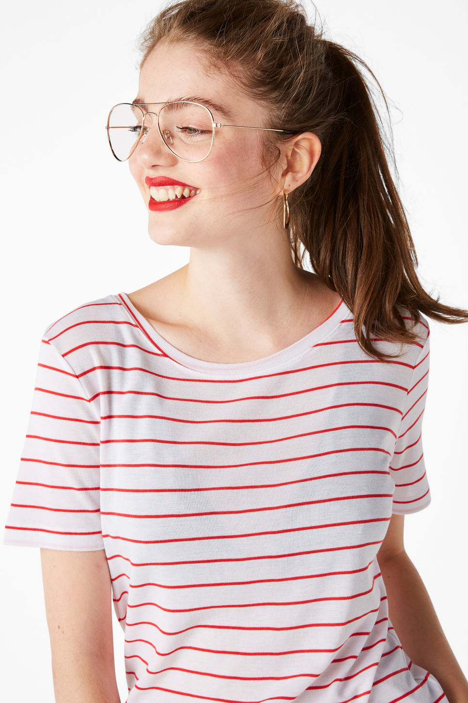Model front image of Monki striped tee in white