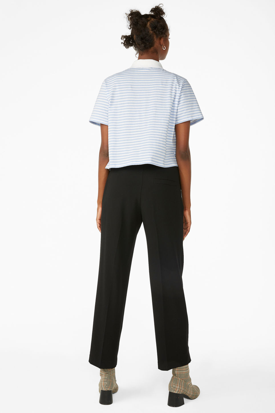 Model back image of Monki dressy trousers in black