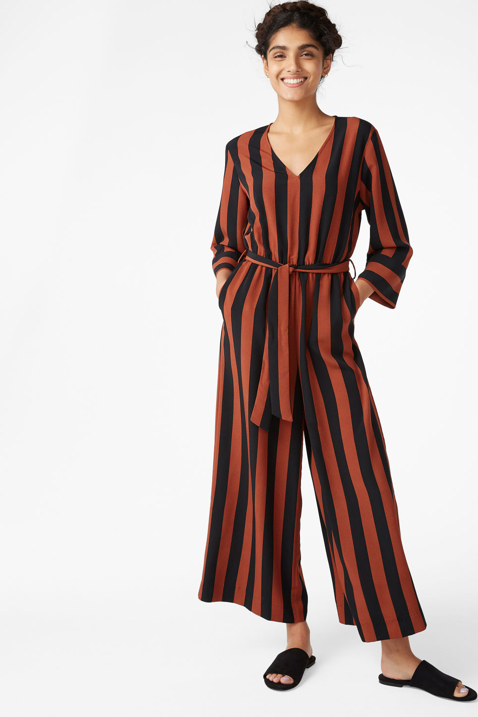 Model front image of Monki v-necked jumpsuit in black