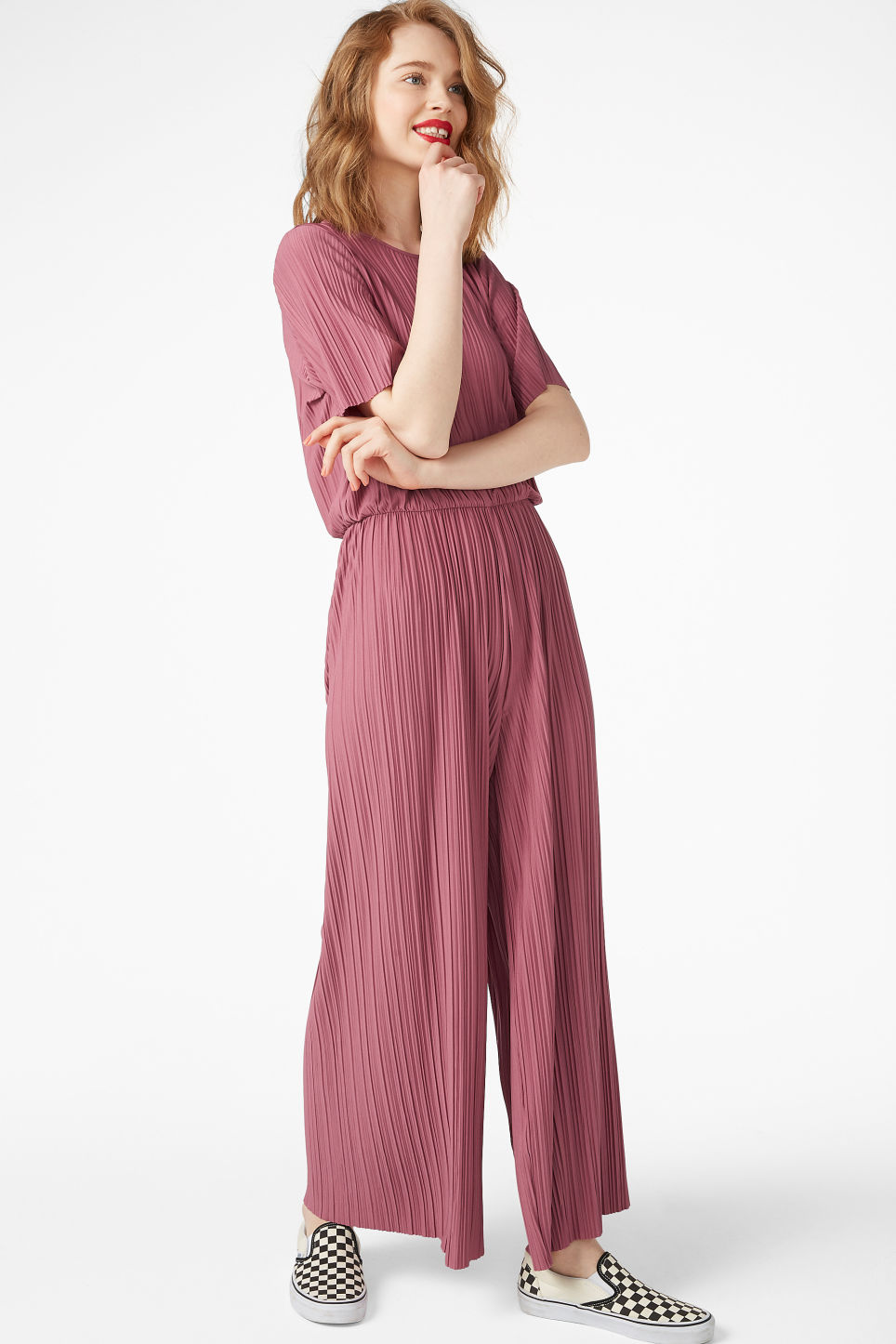 Model front image of Monki pleated jumpsuit in pink