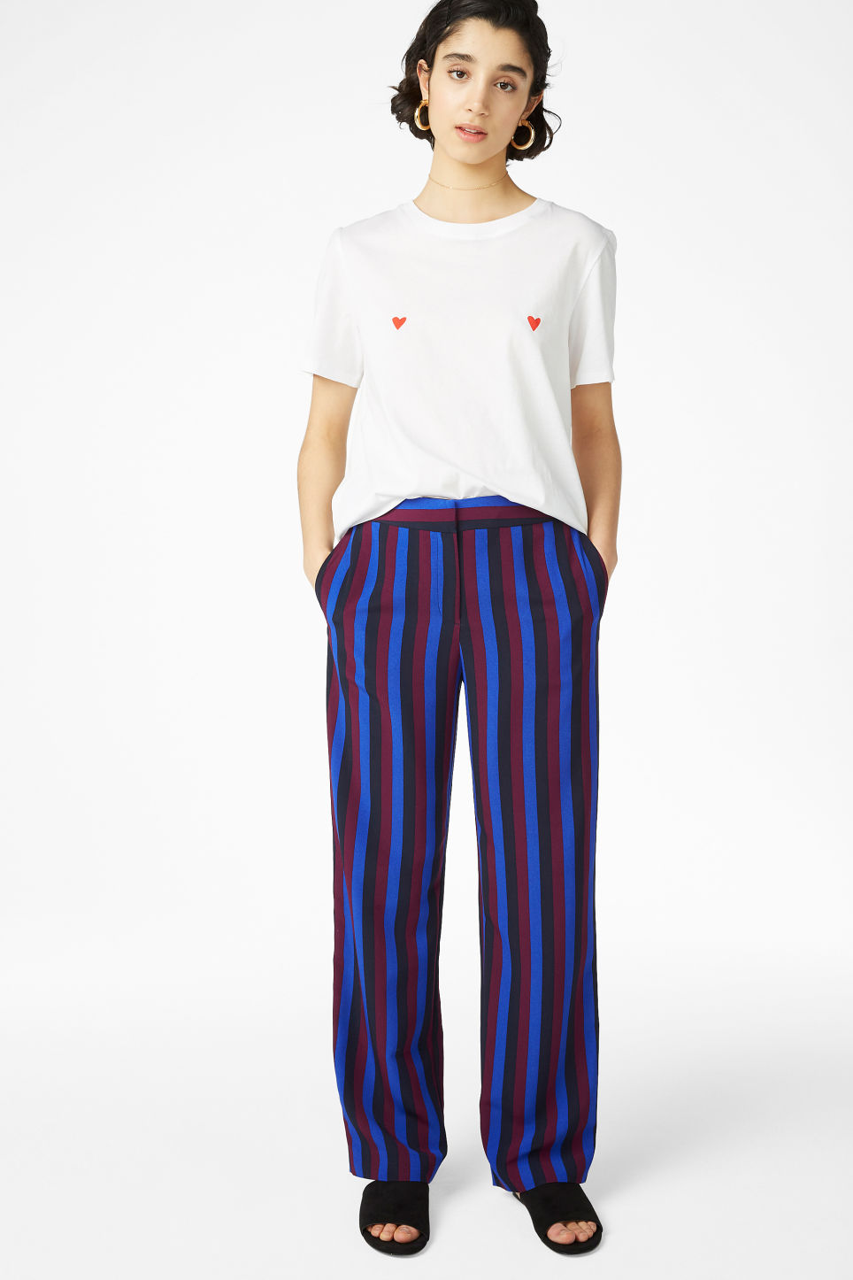 Model front image of Monki sporty trousers in blue