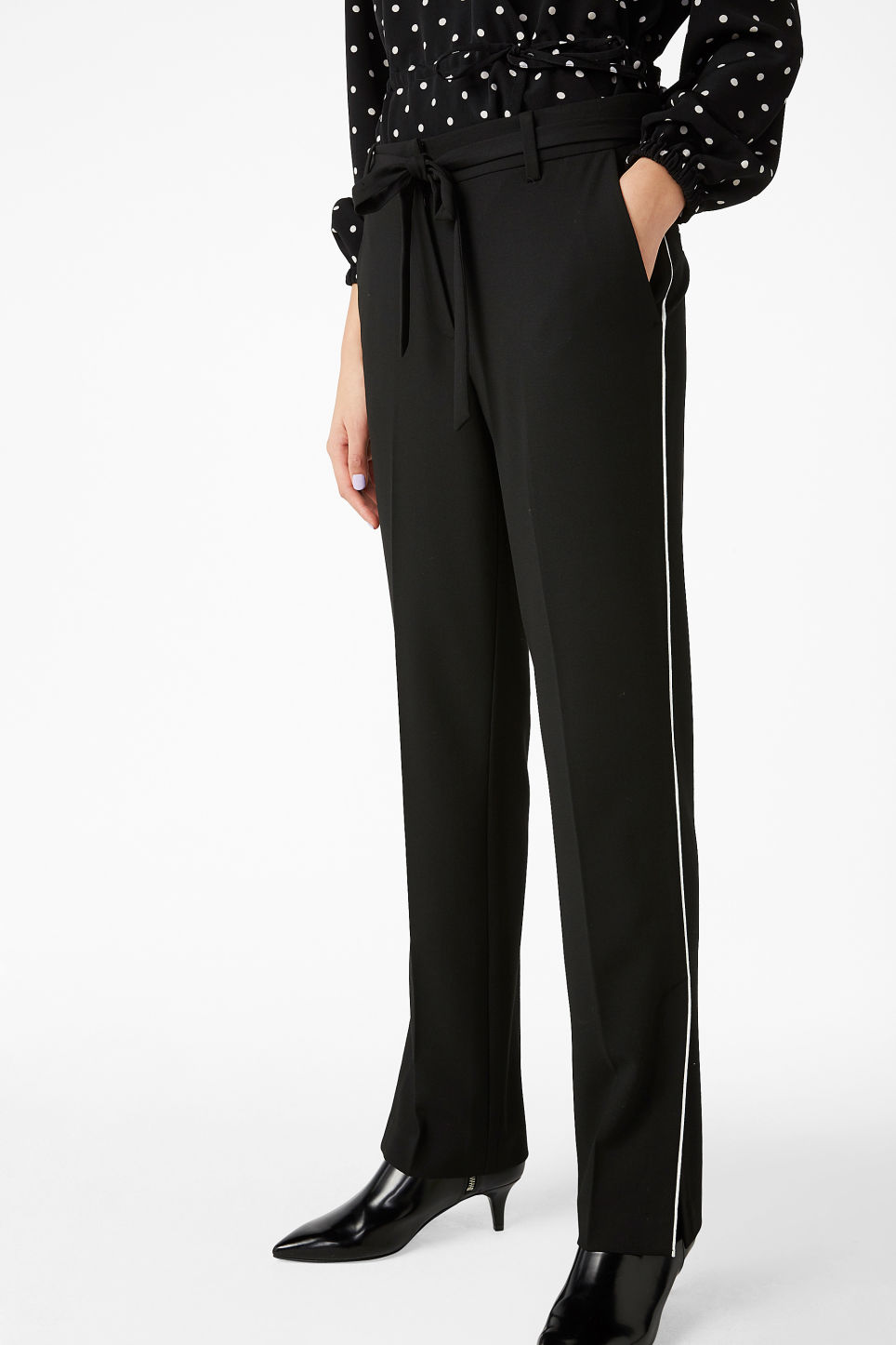 Model front image of Monki dressy slit trousers in black