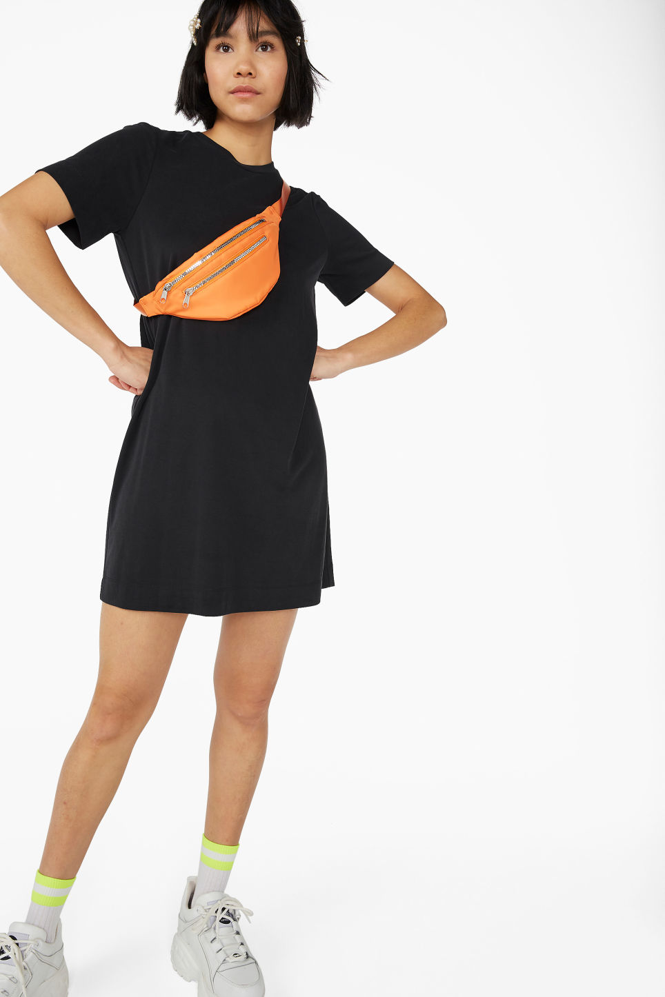 Model front image of Monki super-soft t-shirt dress in black