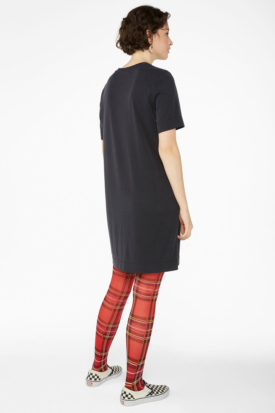 Model back image of Monki super-soft t-shirt dress in black