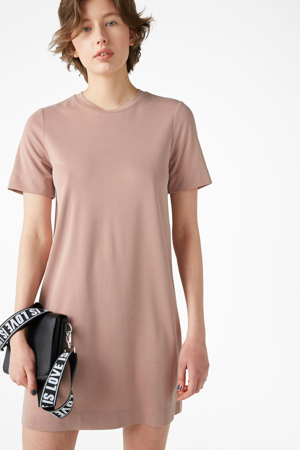 Model front image of Monki super-soft t-shirt dress in orange