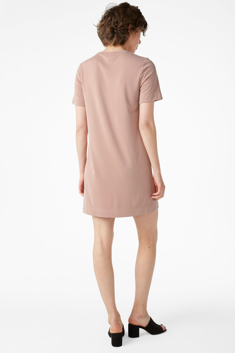 Model back image of Monki super-soft t-shirt dress in orange