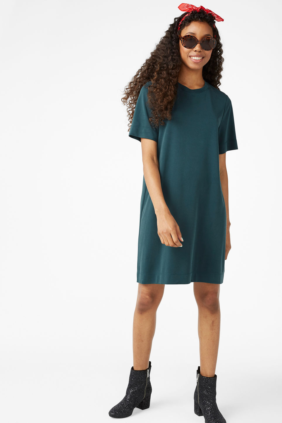 Model front image of Monki super-soft t-shirt dress in green