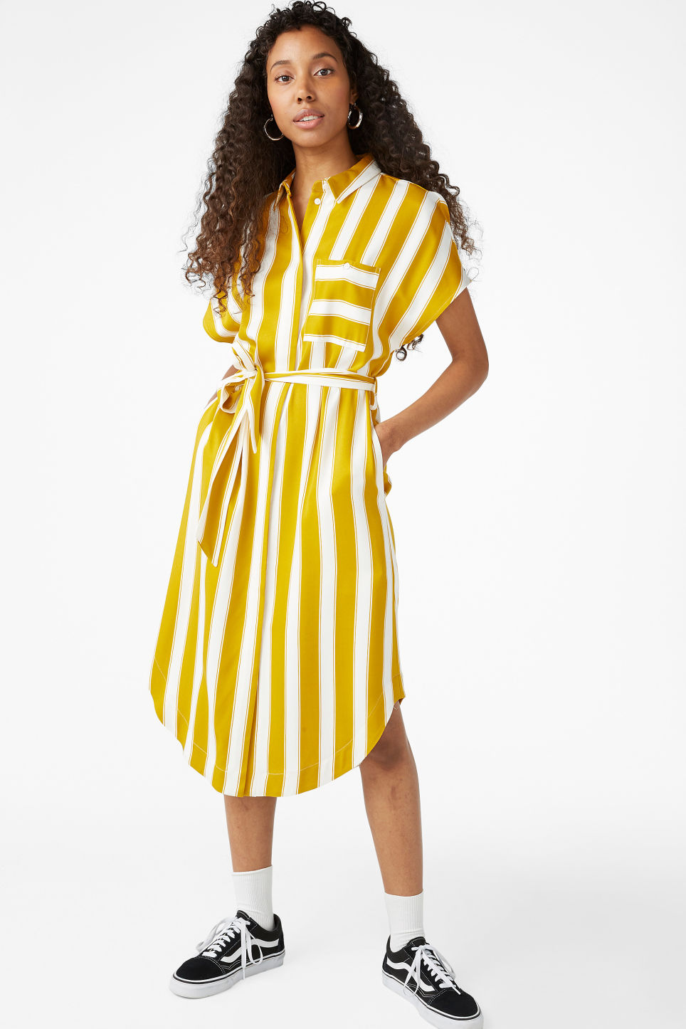 Model front image of Monki shirt dress in yellow