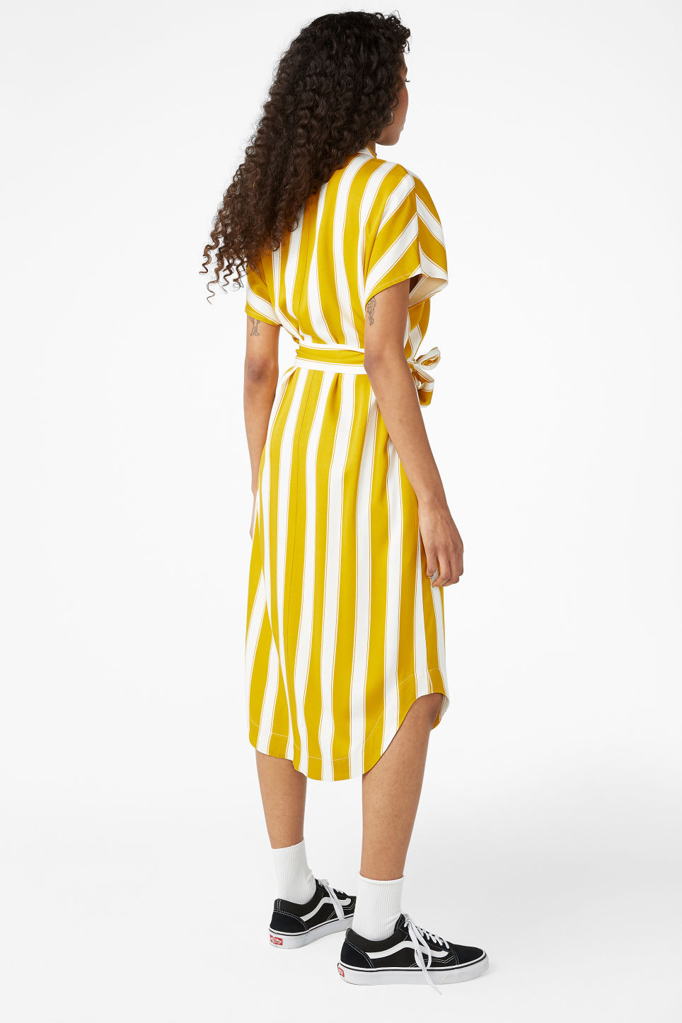 Model back image of Monki shirt dress in yellow