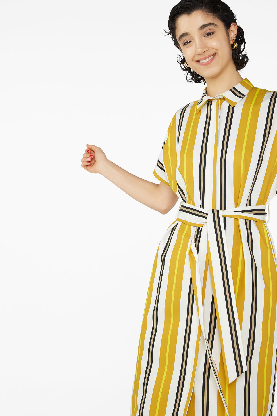Model front image of Monki belted hidden button shirt dress in yellow