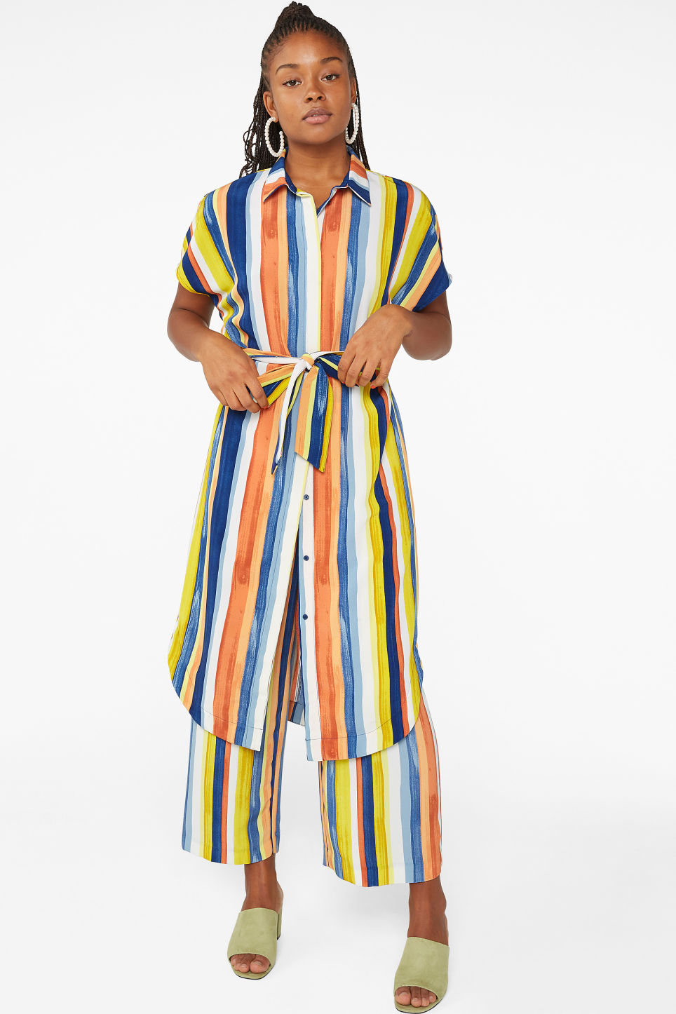Model front image of Monki belted hidden button shirt dress in blue