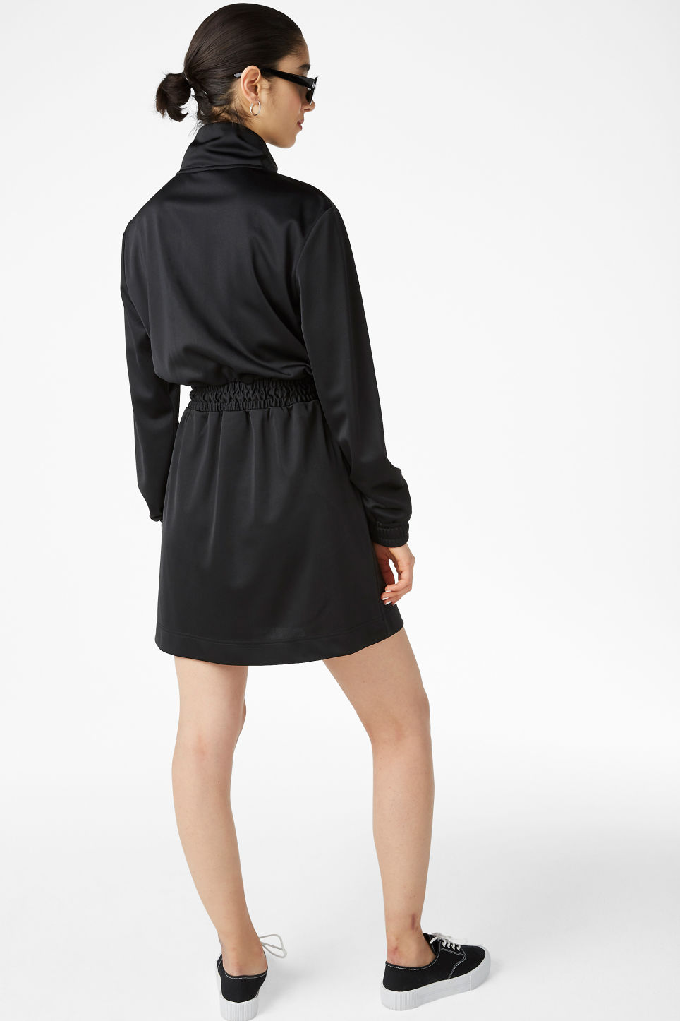 Model back image of Monki sporty drawstring dress in black