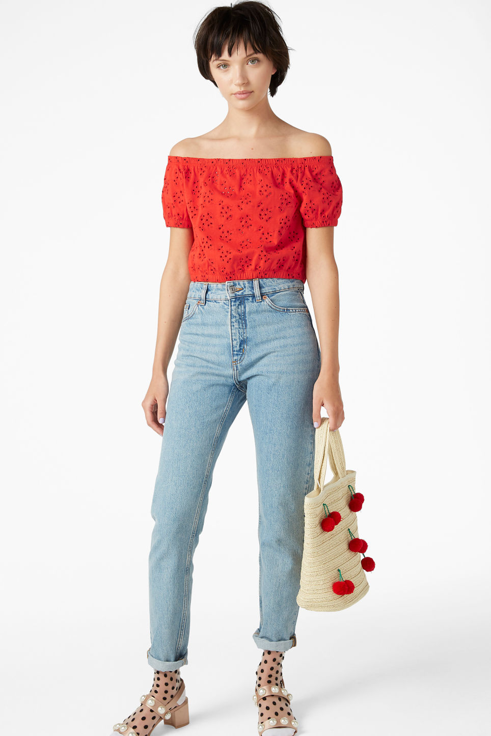 Model front image of Monki cold shoulder top in red