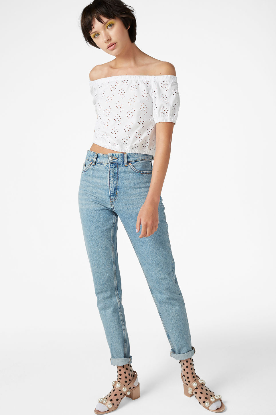 Model side image of Monki cold shoulder top in white