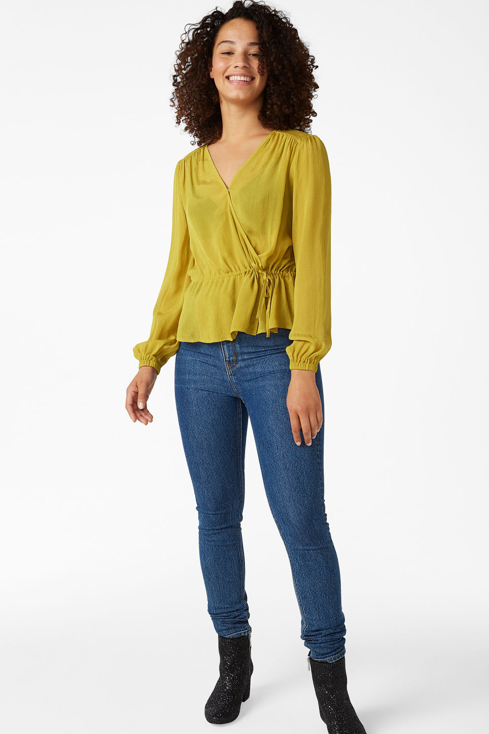 Model front image of Monki wrap blouse in yellow