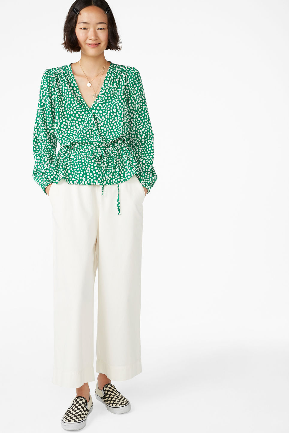 Model front image of Monki drawstring wrap -blouse  in green