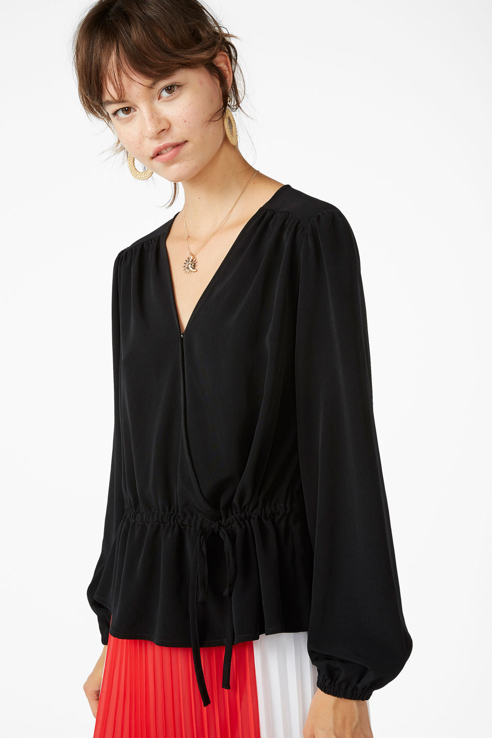 Model front image of Monki drawstring wrap -blouse  in black