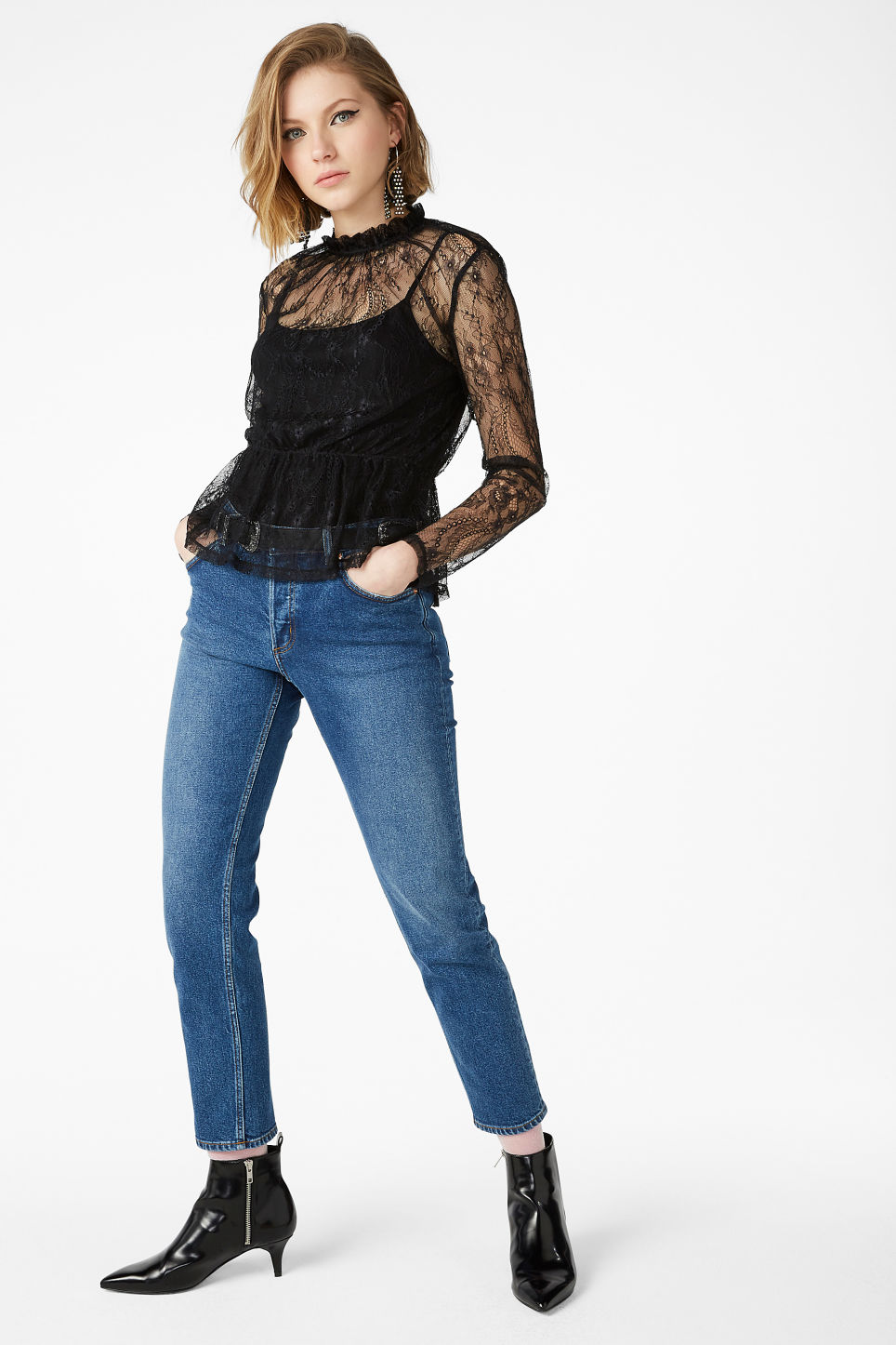 Model front image of Monki sheer lace blouse in black