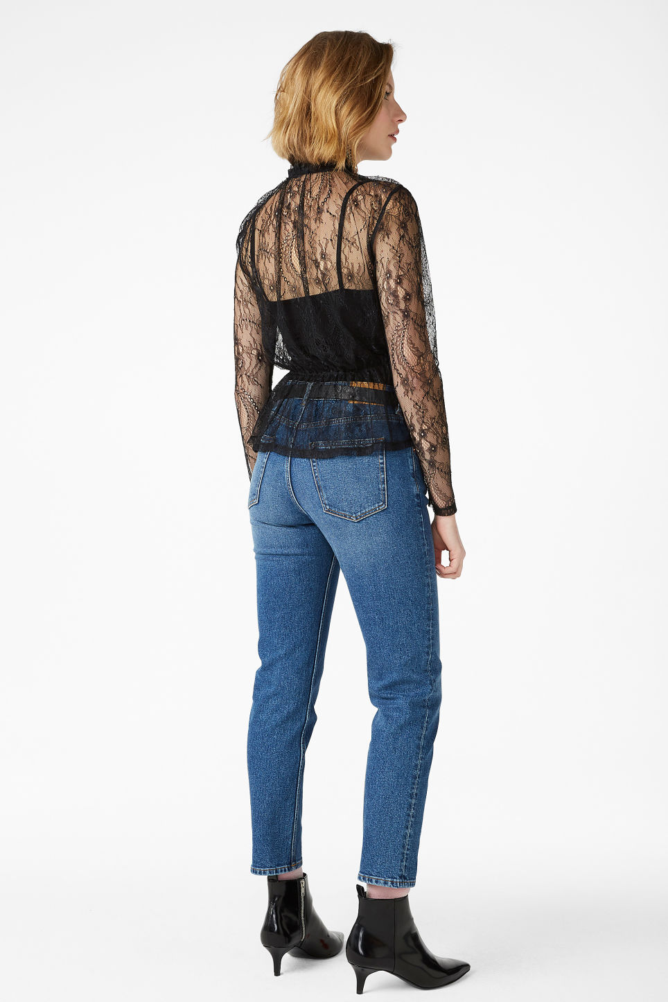 Model back image of Monki sheer lace blouse in black