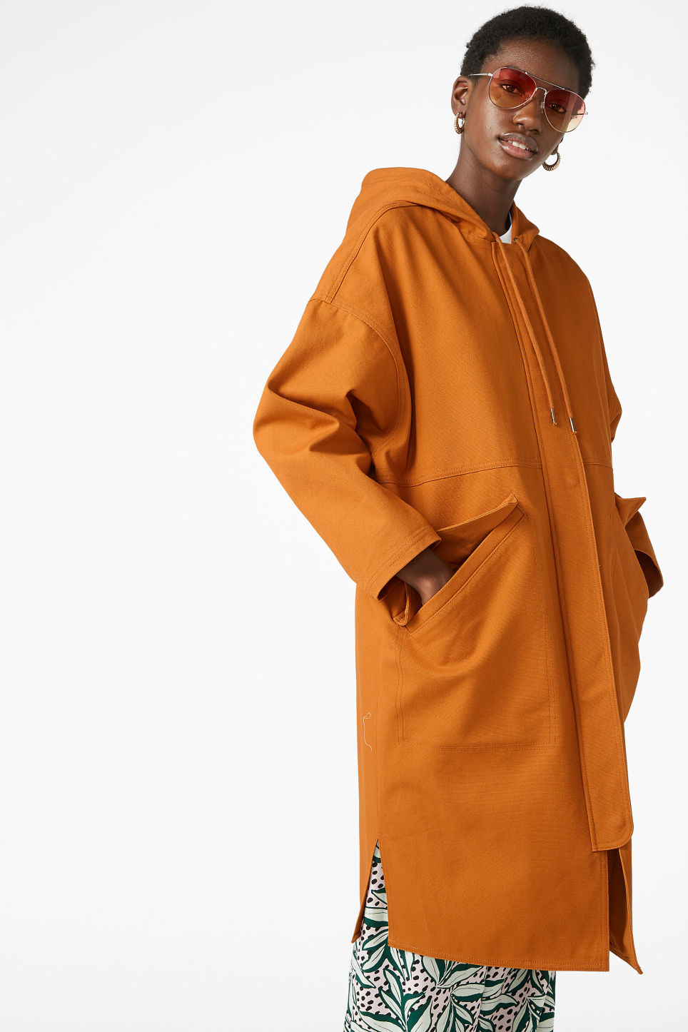 Model front image of Monki long hoodie jacket in yellow