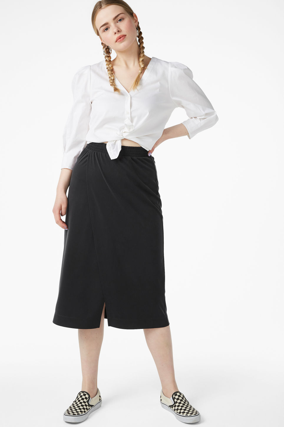 Model front image of Monki super-soft wrap skirt in black