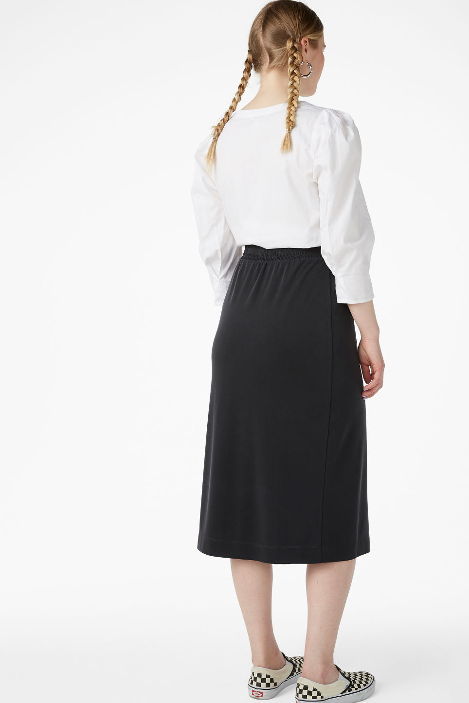Model back image of Monki super-soft wrap skirt in black