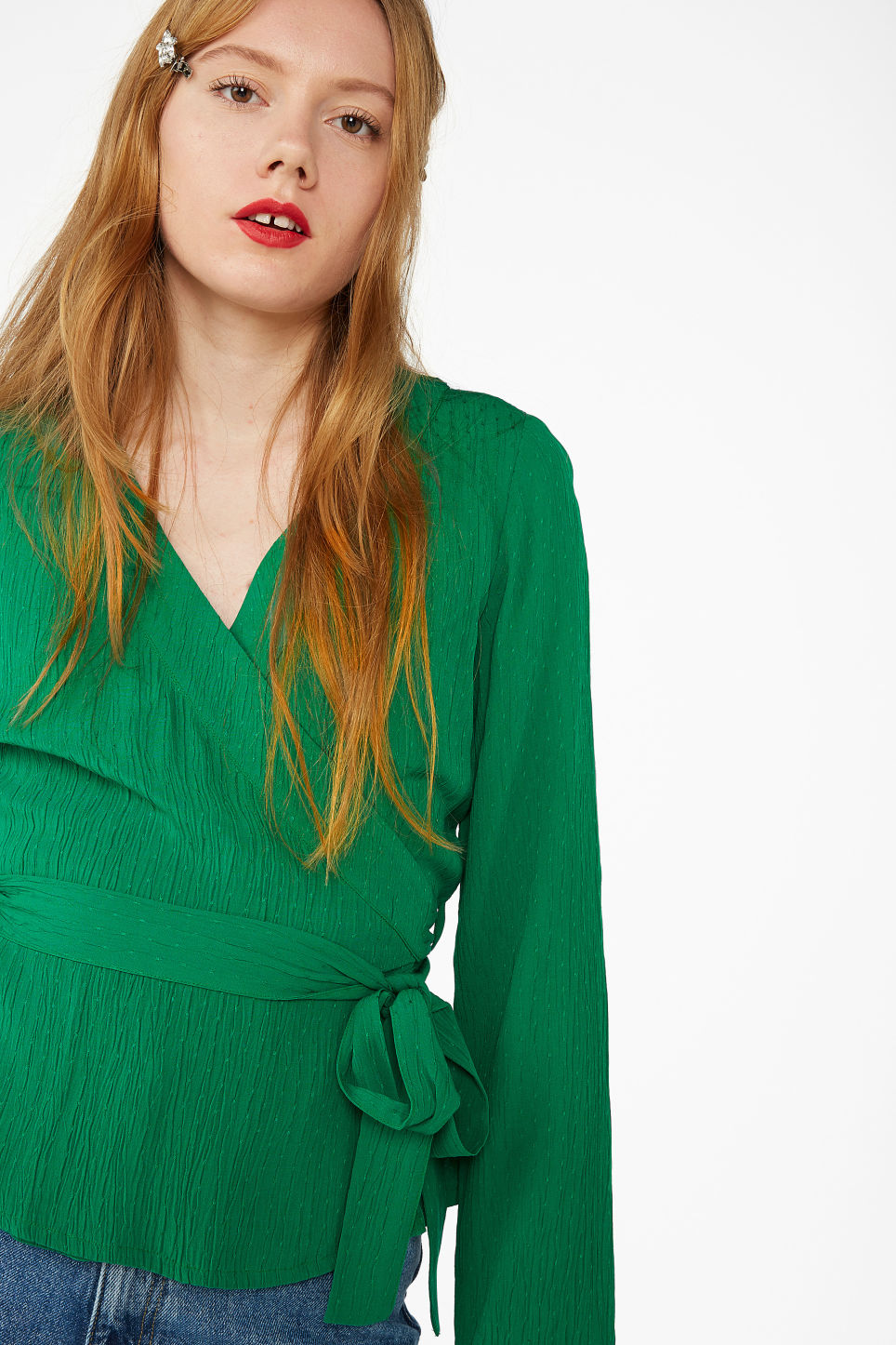 Model front image of Monki wrap blouse in green