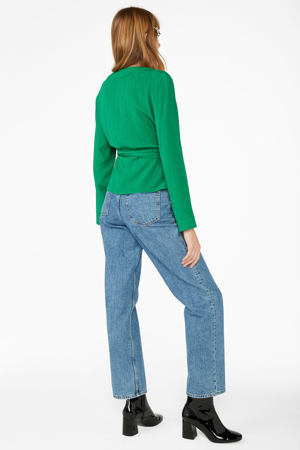 Model back image of Monki wrap blouse in green