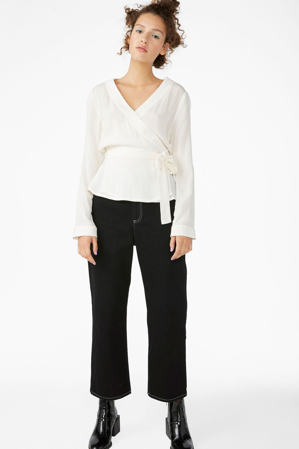 Model front image of Monki wrap blouse in white