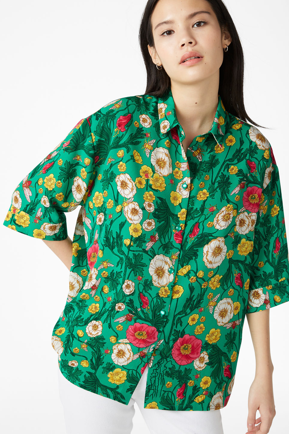 Model front image of Monki oversized blouse in green