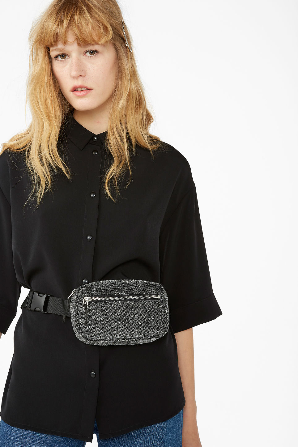 Model front image of Monki flowy oversized shirt in black