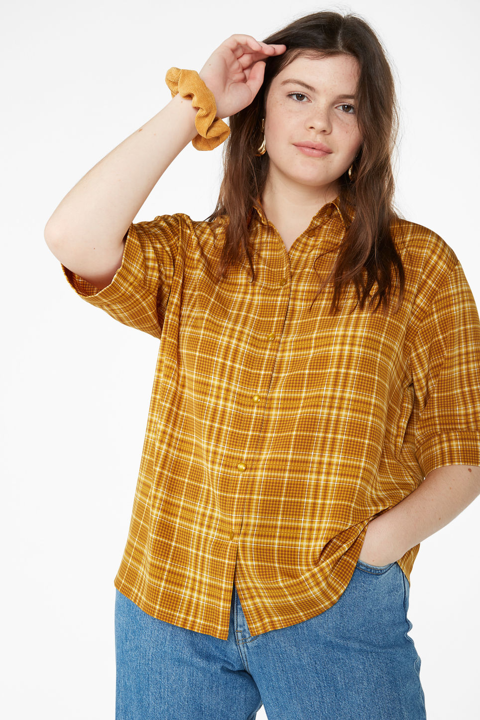 Model front image of Monki oversized button-up blouse in yellow