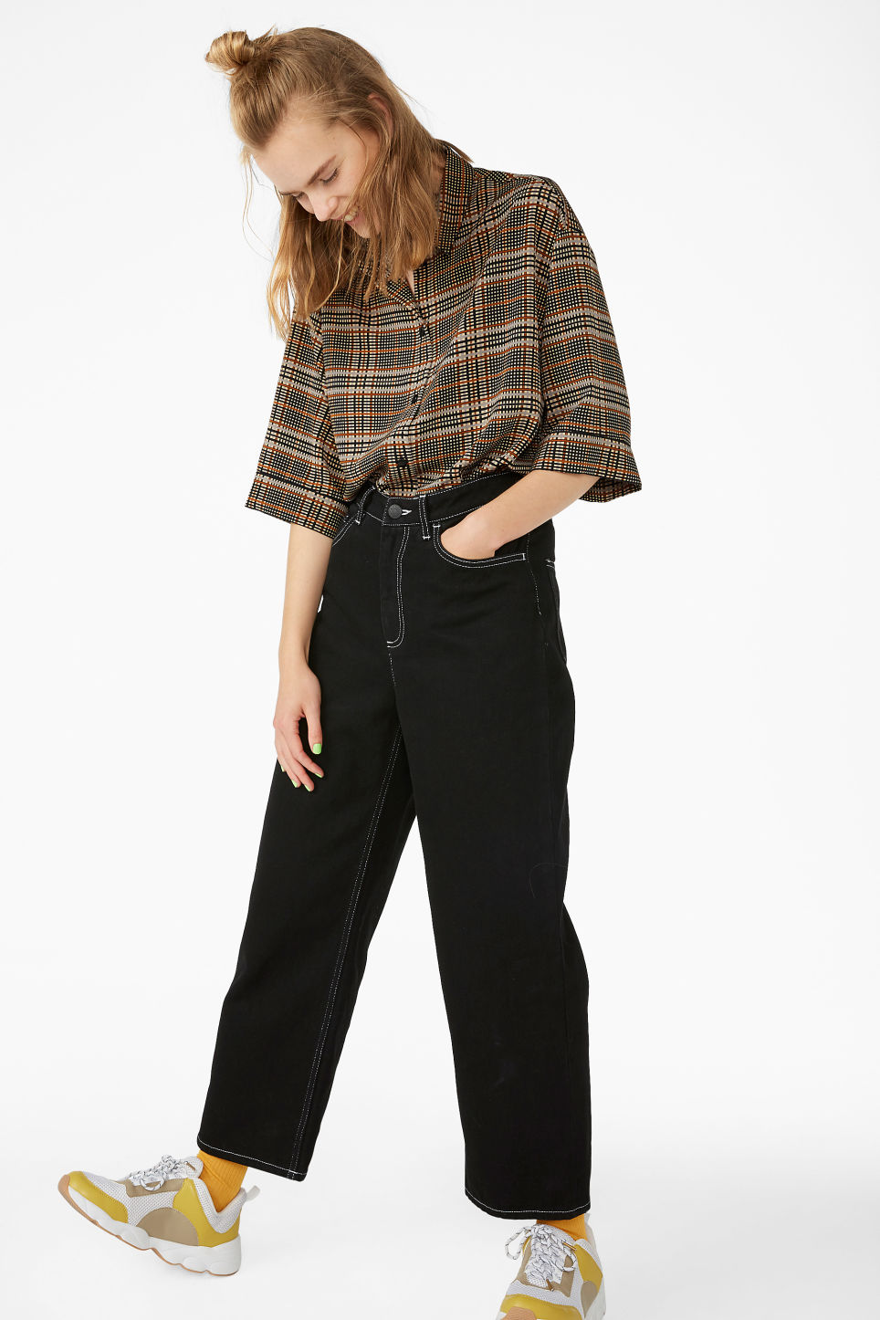 Model side image of Monki flowy oversized shirt in beige