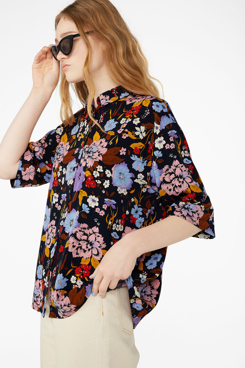 Model front image of Monki oversized button-up blouse in blue